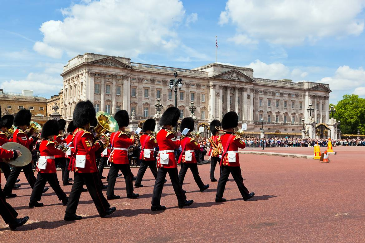 Image of a group of beefeaters at the Changing of the Guard at Buckingham Palace