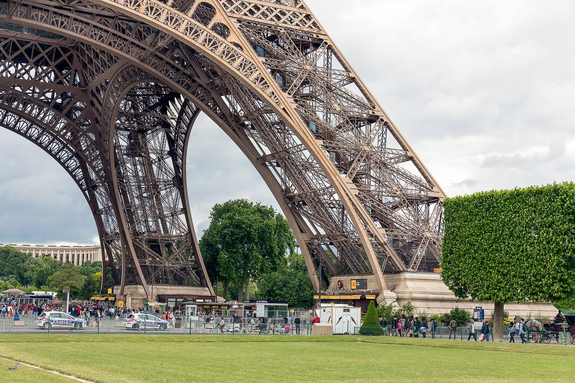 Image of the base of the Eiffel Tower, the Champ de Mars, and tourists