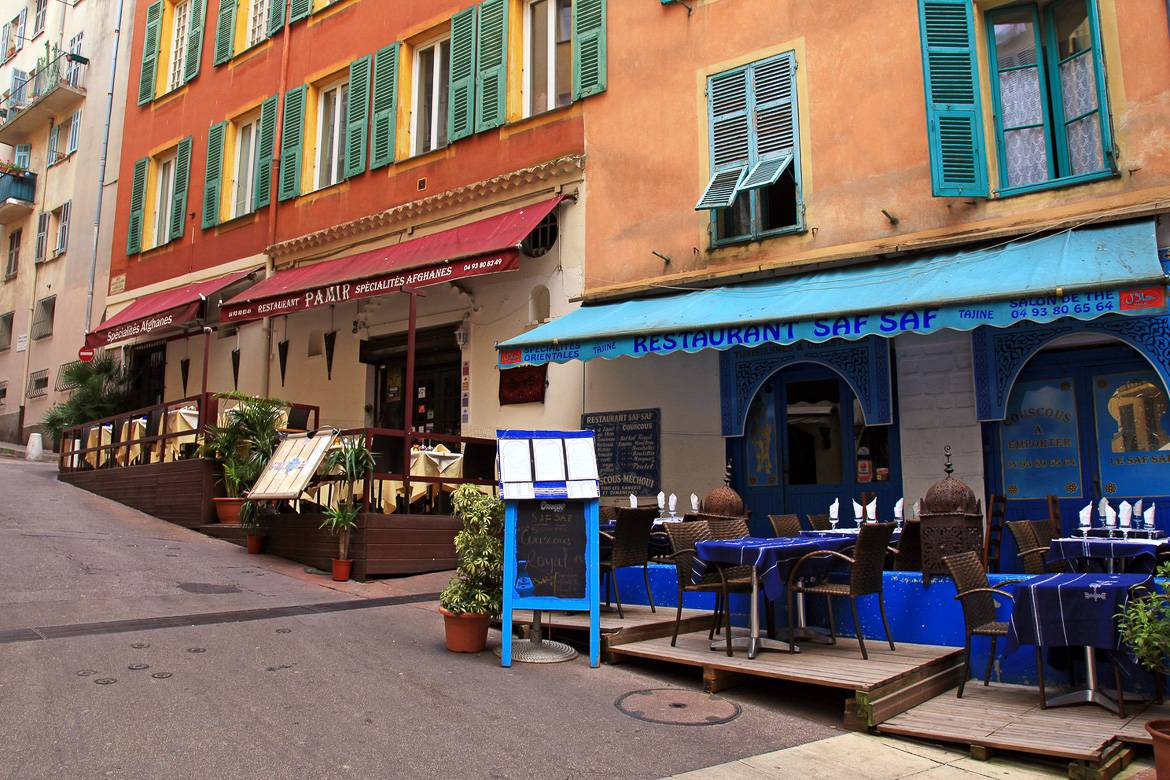 Image of street cafés in a Southern French town
