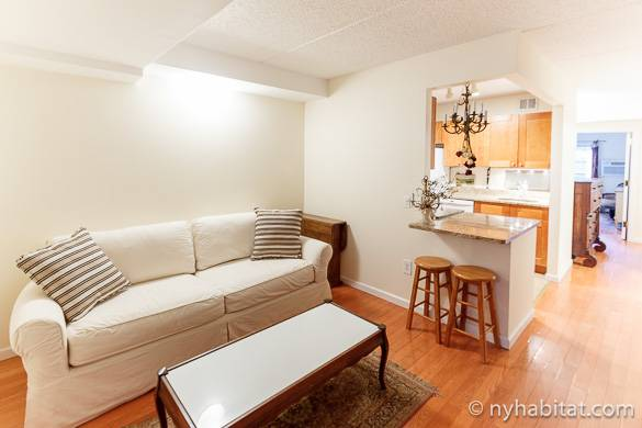 Image of couch, coffee table and kitchen of NY-7311 in the East Village