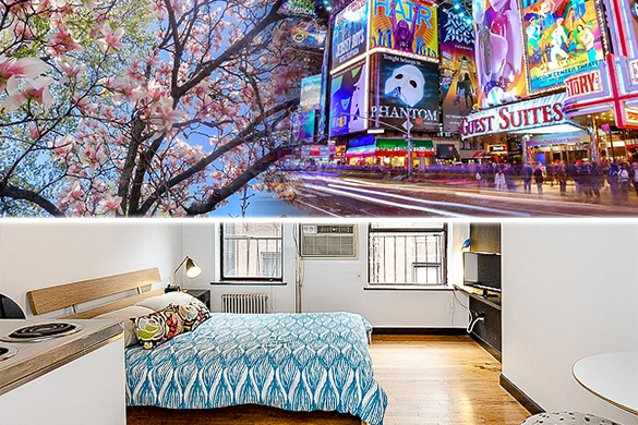 View of bed and windows in studio apartment NY-14101
