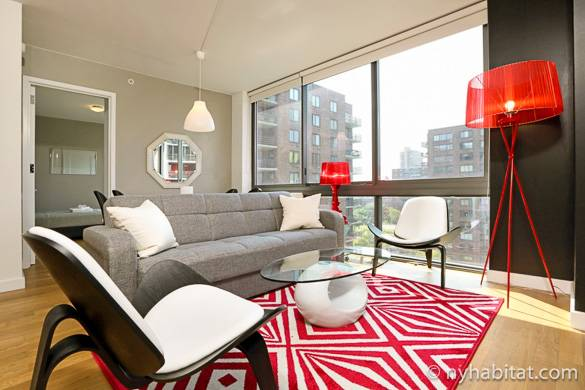 View of living room of NY-16820 with city views out the window in the background