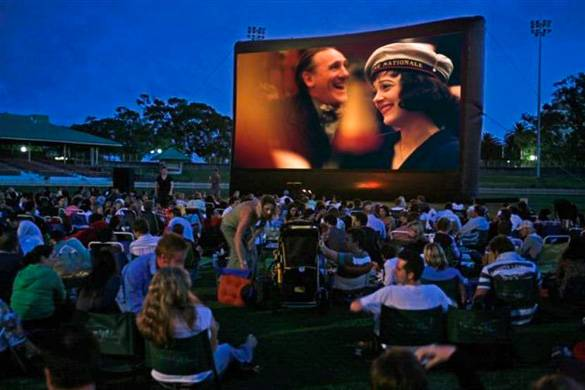 Image of people watching an outdoor movie