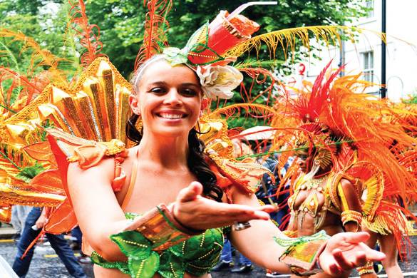 Image of dancer in Caribbean carnival costume