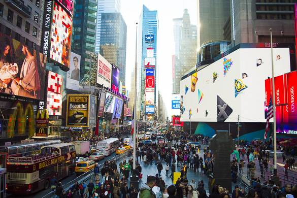 Image of Times Square from above during the day