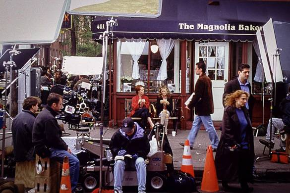 Image of film shoot in front of Magnolia Bakery in Greenwich Village