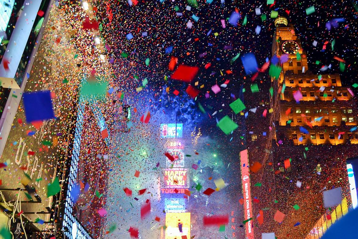 Image of confetti explosion in Times Square on New Year's Eve