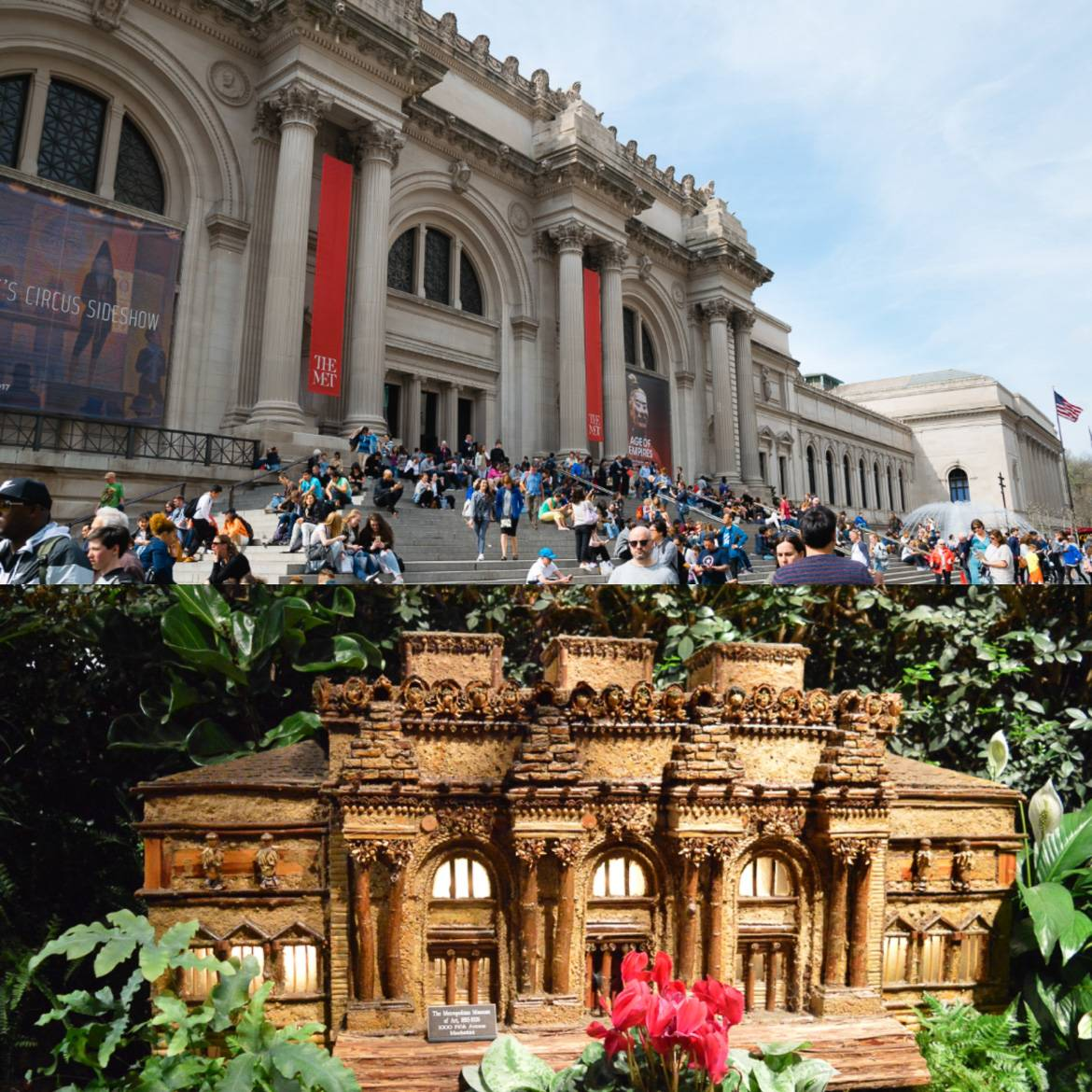 Image of small model of the Metropolitan Museum of Art and Image of people sitting on the steps of the Metropolitan Museum of Art in Manhattan