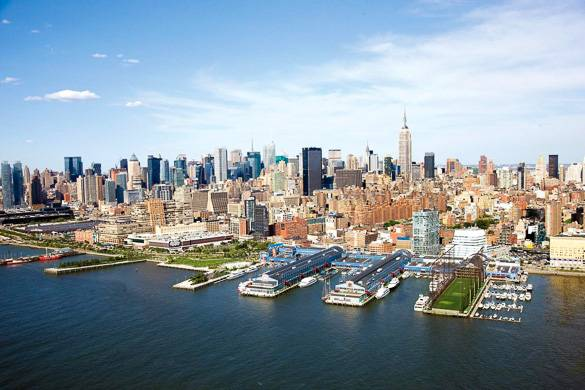 Aerial view of Chelsea Piers Sports Complex with Hudson River and Manhattan Skyline