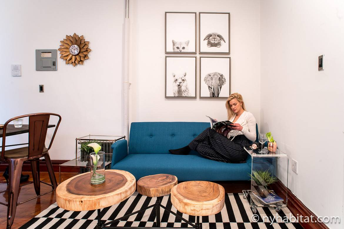Image of a woman lounging on a couch in the apartment NY-17254