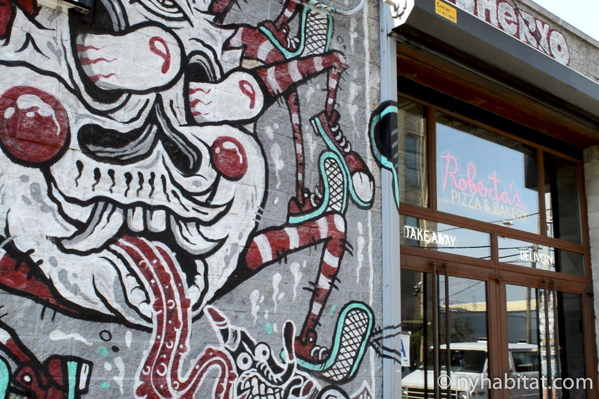Image of graffiti wall art outside Roberta's Pizza