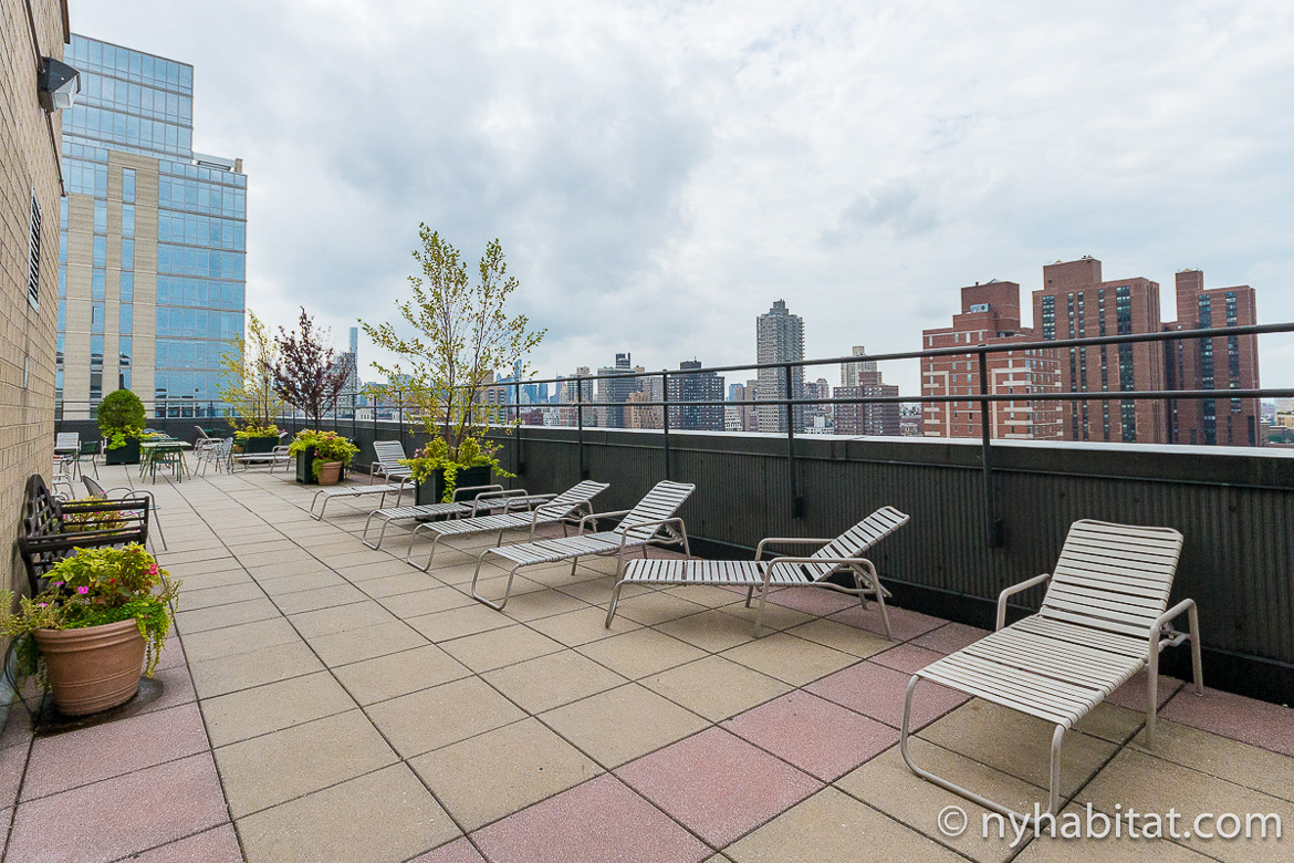 Image of roof deck and patio furniture included with rental of NY-15733