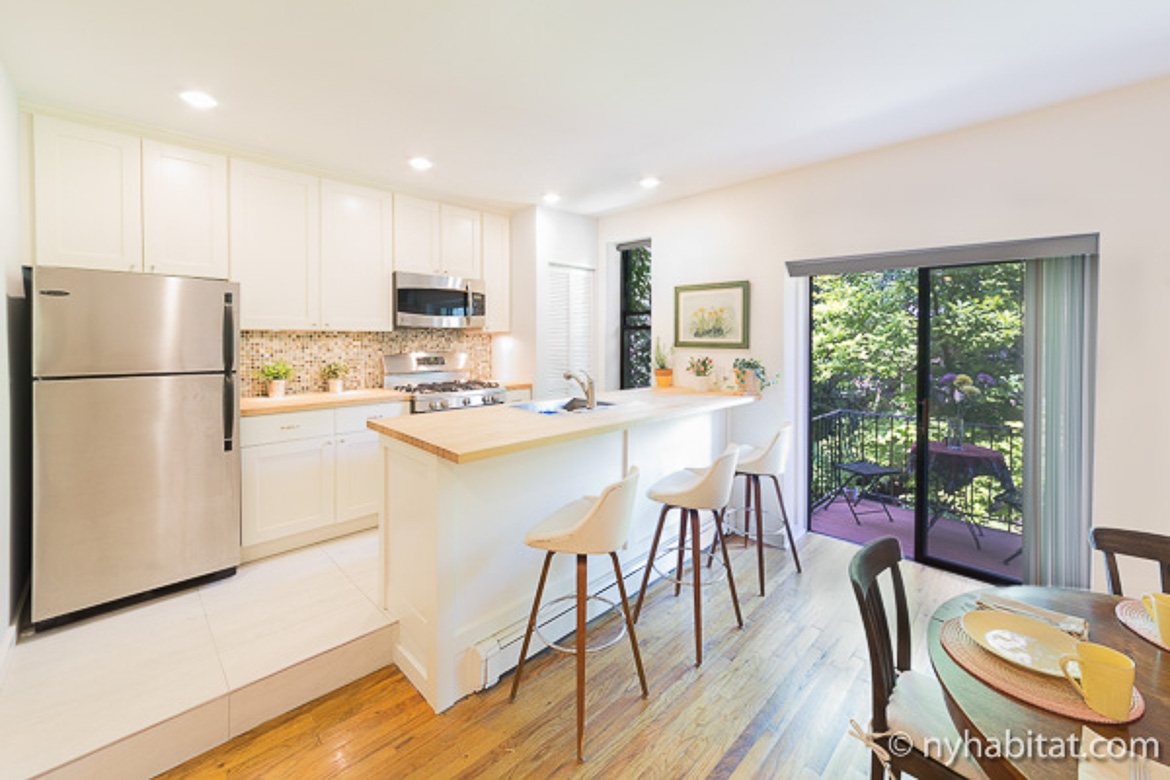 Image of kitchen of NY-15837 in Boerum Hill, Brooklyn with breakfast bar and balcony