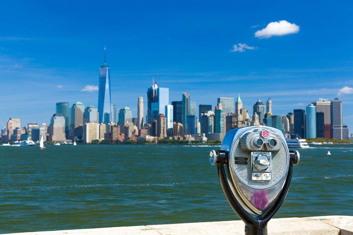 Image of the Manhattan skyline from a viewfinder on the East River.