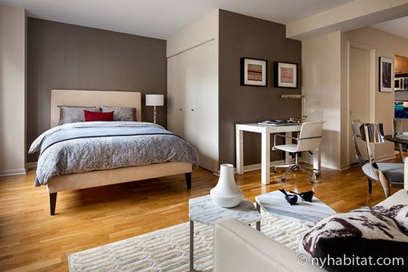 Image of living area in NY-17572 with double bed, desk, and contemporary décor.