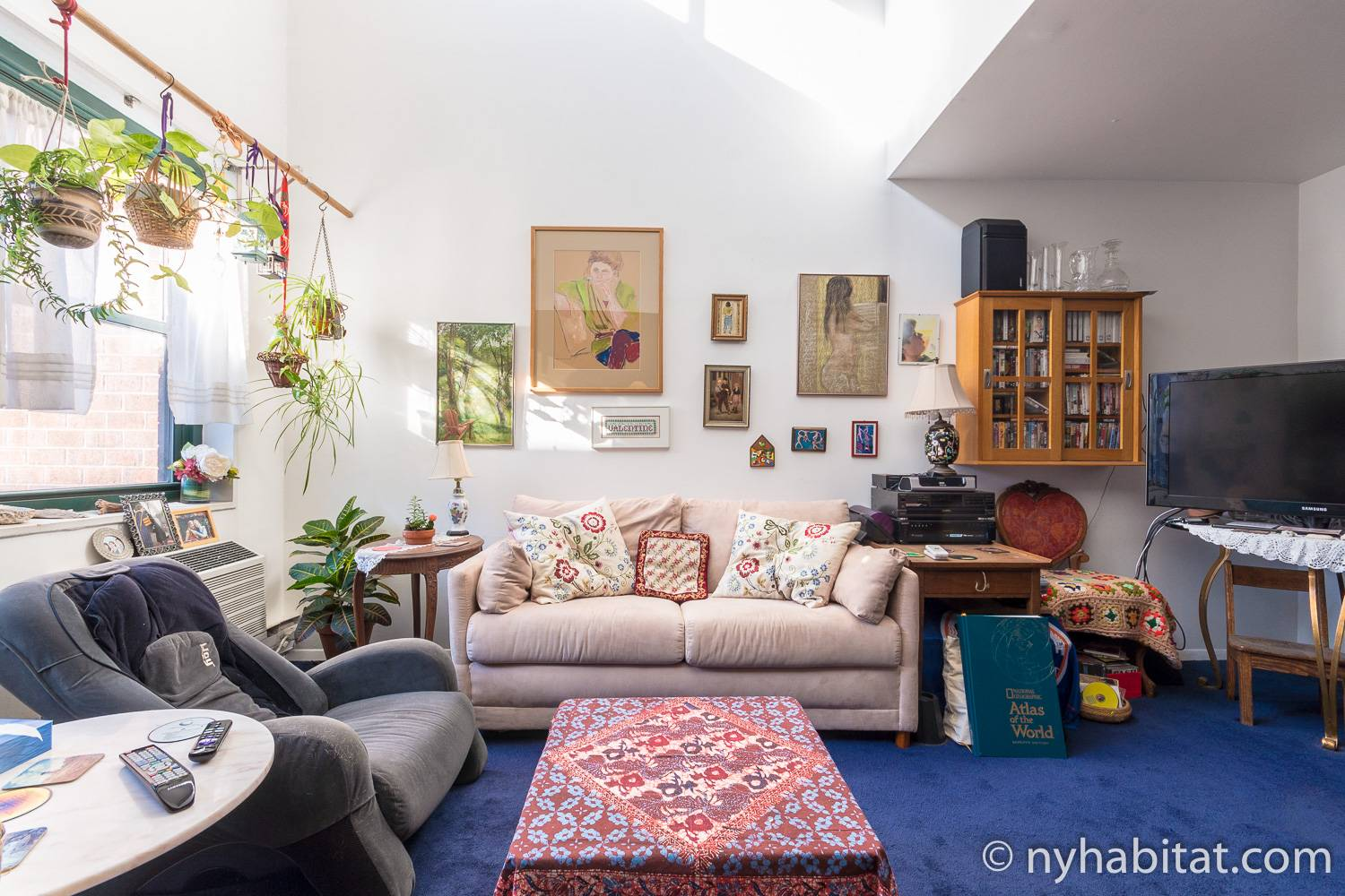 Image of living area in NY-17088 with sofa and artwork.