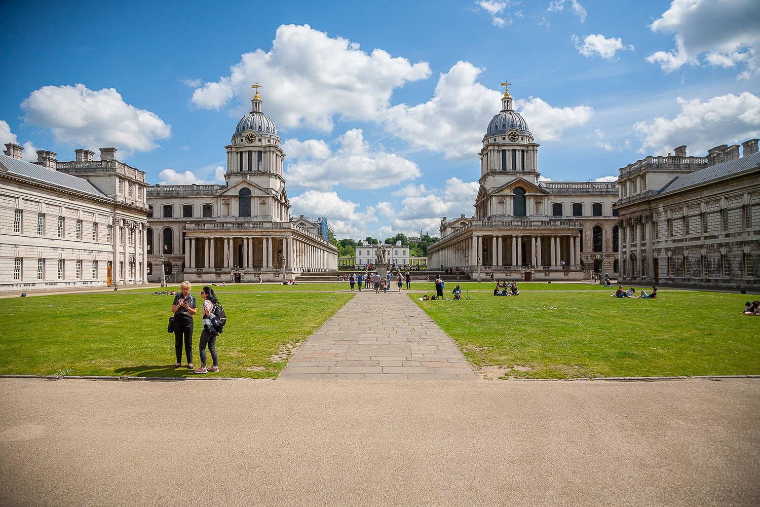Image of the courtyard of the Old Royal Naval College in London on a sunny day.