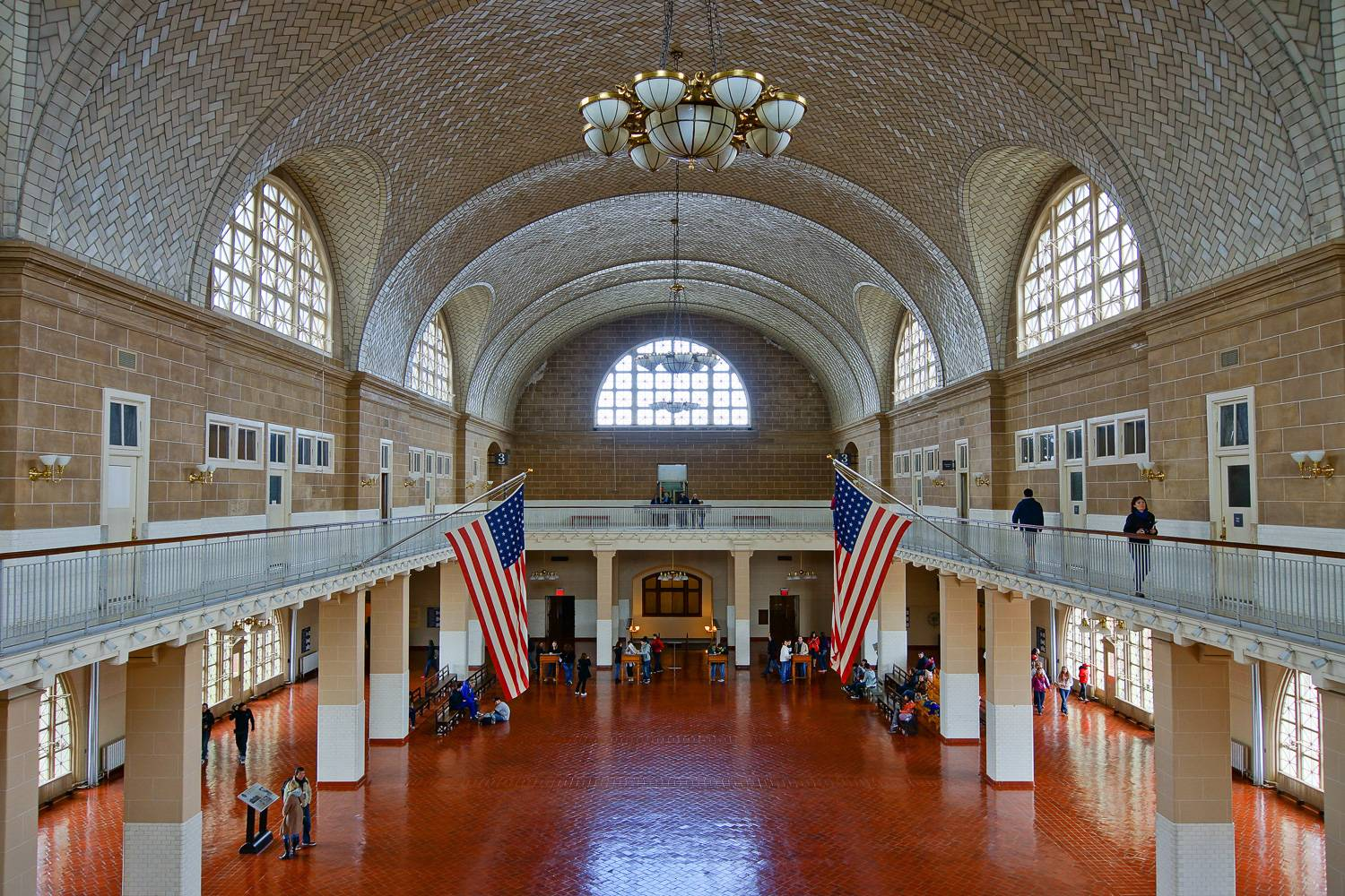 Image of the main hall at Ellis Island.