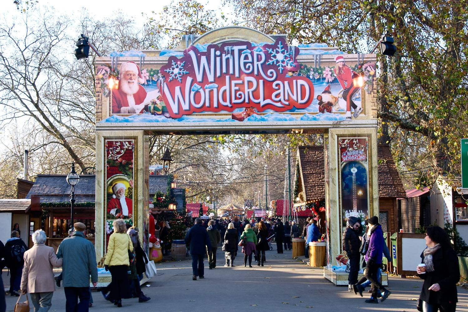 Image of gates to Hyde Park Winter Wonderland holiday fair in London.