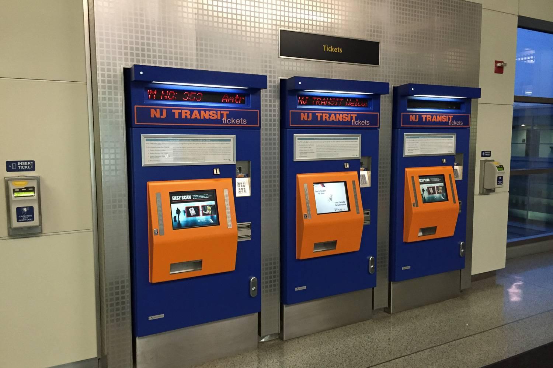 Image of New Jersey Transit ticket kiosks at Newark Liberty International Airport.