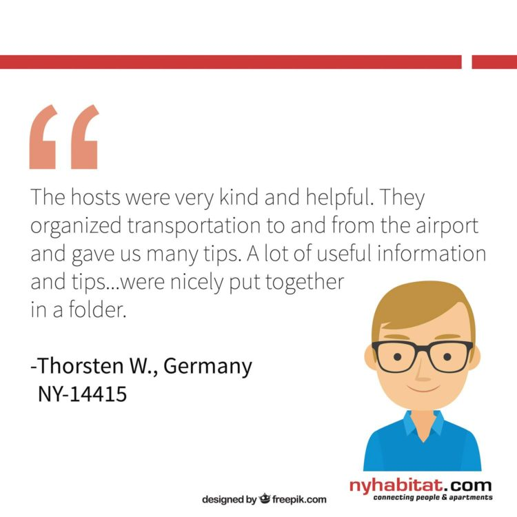 New York Habitat infographic featuring client reviews from past apartment tenants describing the benefits of connecting with an apartment host.