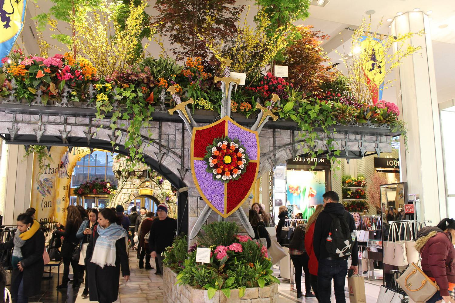 Image of a display in the medieval-themed 2018 Macy's Flower Show.