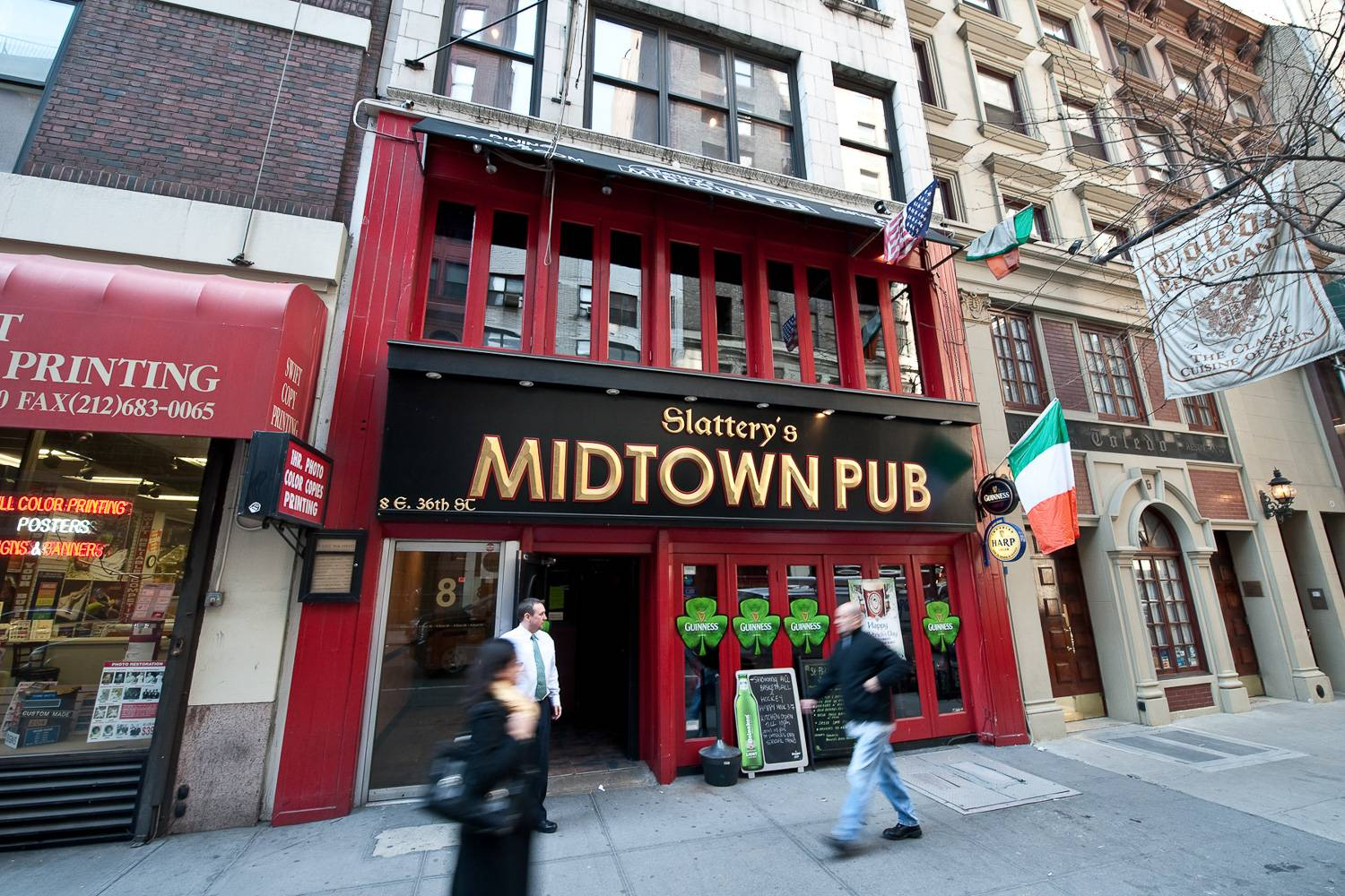 Image of Irish pub in Midtown Manhattan decorated with shamrocks for St. Patrick's Day