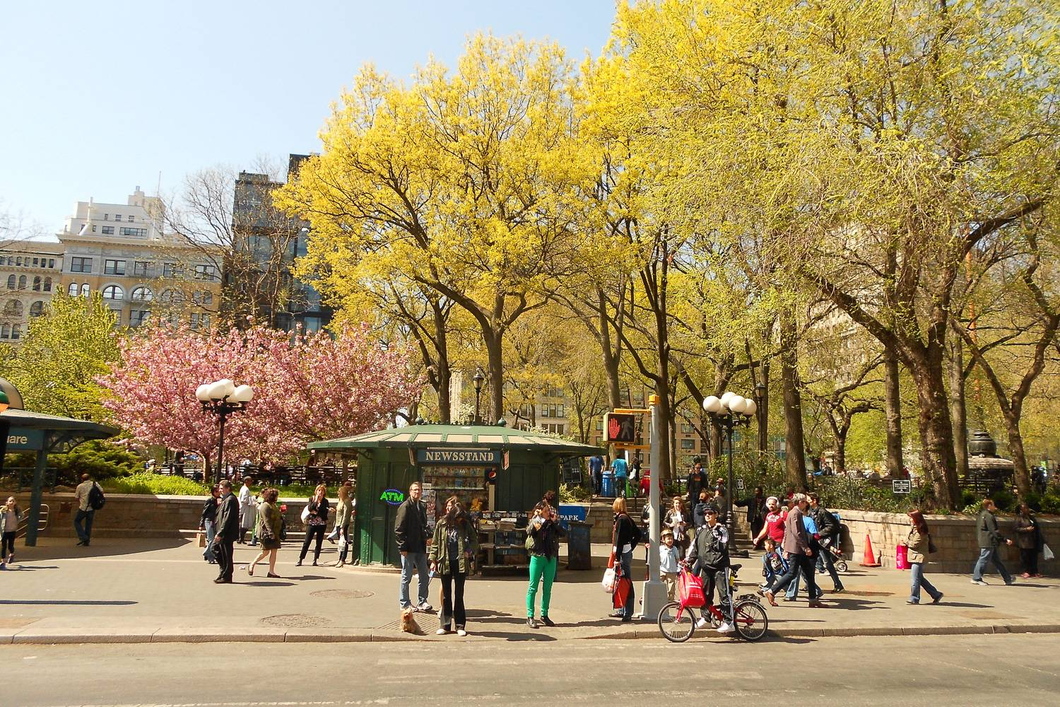 Image of a street view of Union Square park in springtime.