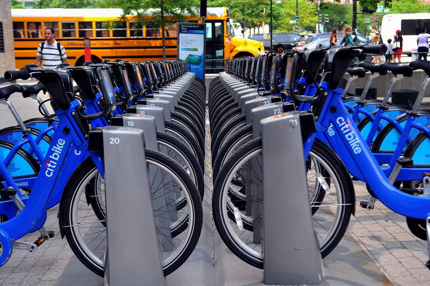 Image of Citi Bikes at a bike sharing dock station in New York City.