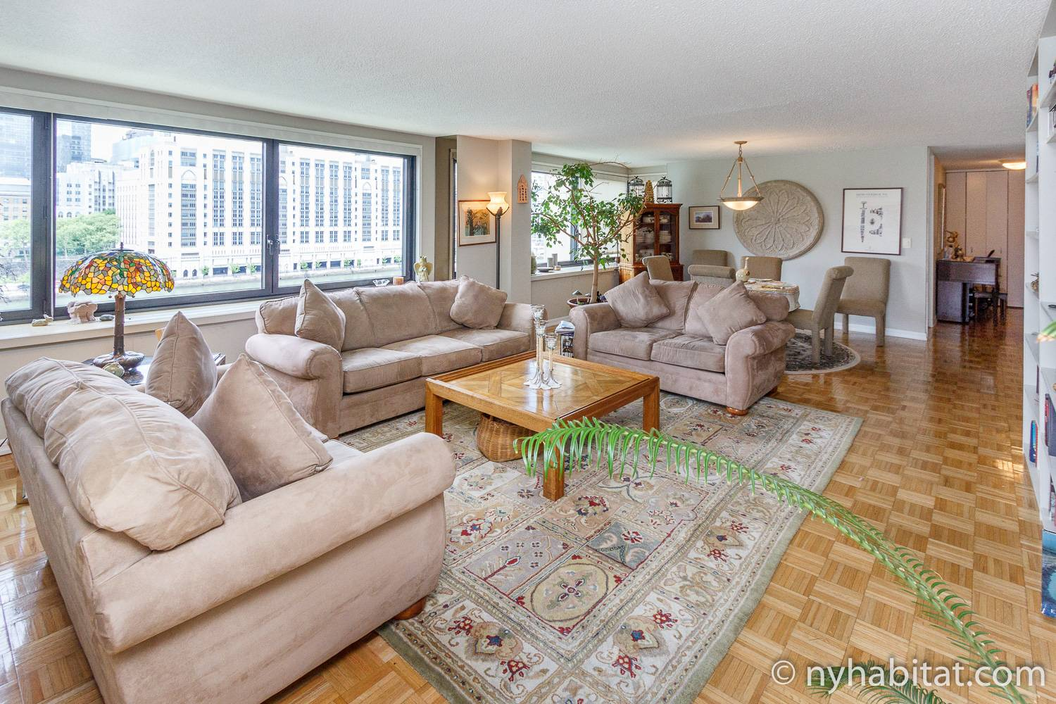 Image of living area of NY-14708 with sofas, coffee table, rug, and dining table and chairs.