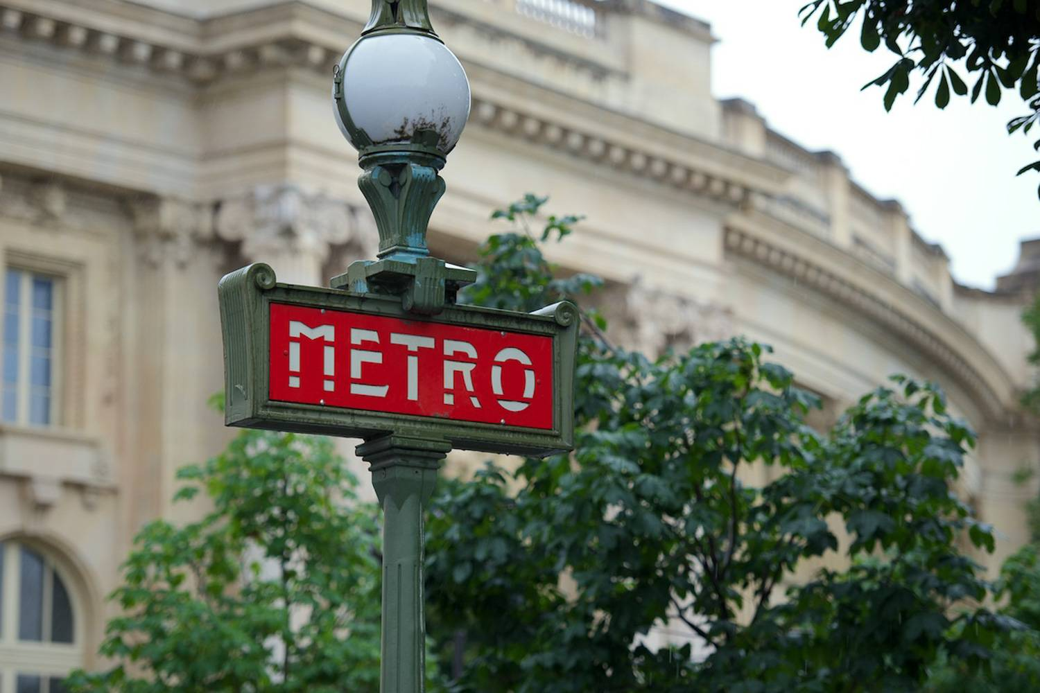 Photo - Paris travel transportation city navigation Metro red sign