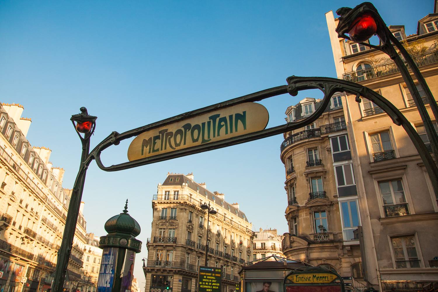 Image of the entrance arch and sign at Etienne Marcel Métro Station in Paris.