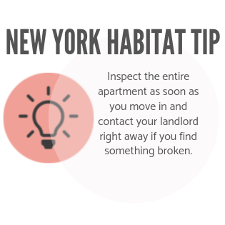 New York Habitat tip infographic encouraging tenants to inspect their apartment and contact the landlord for repairs.