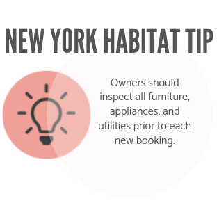 New York Habitat tip infographic encouraging owners to inspect the property prior to a booking.