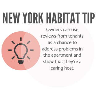 New York Habitat tip infographic encouraging owners to use reviews as a chance to show they care.
