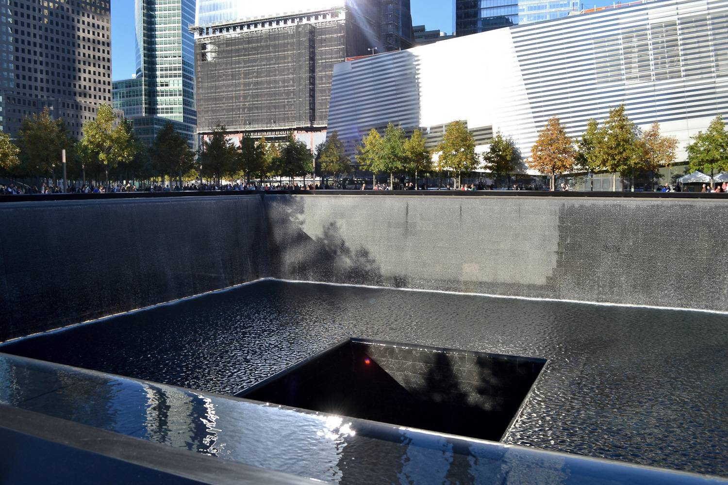 Image of one of the reflecting pools at the National September 11 Memorial.