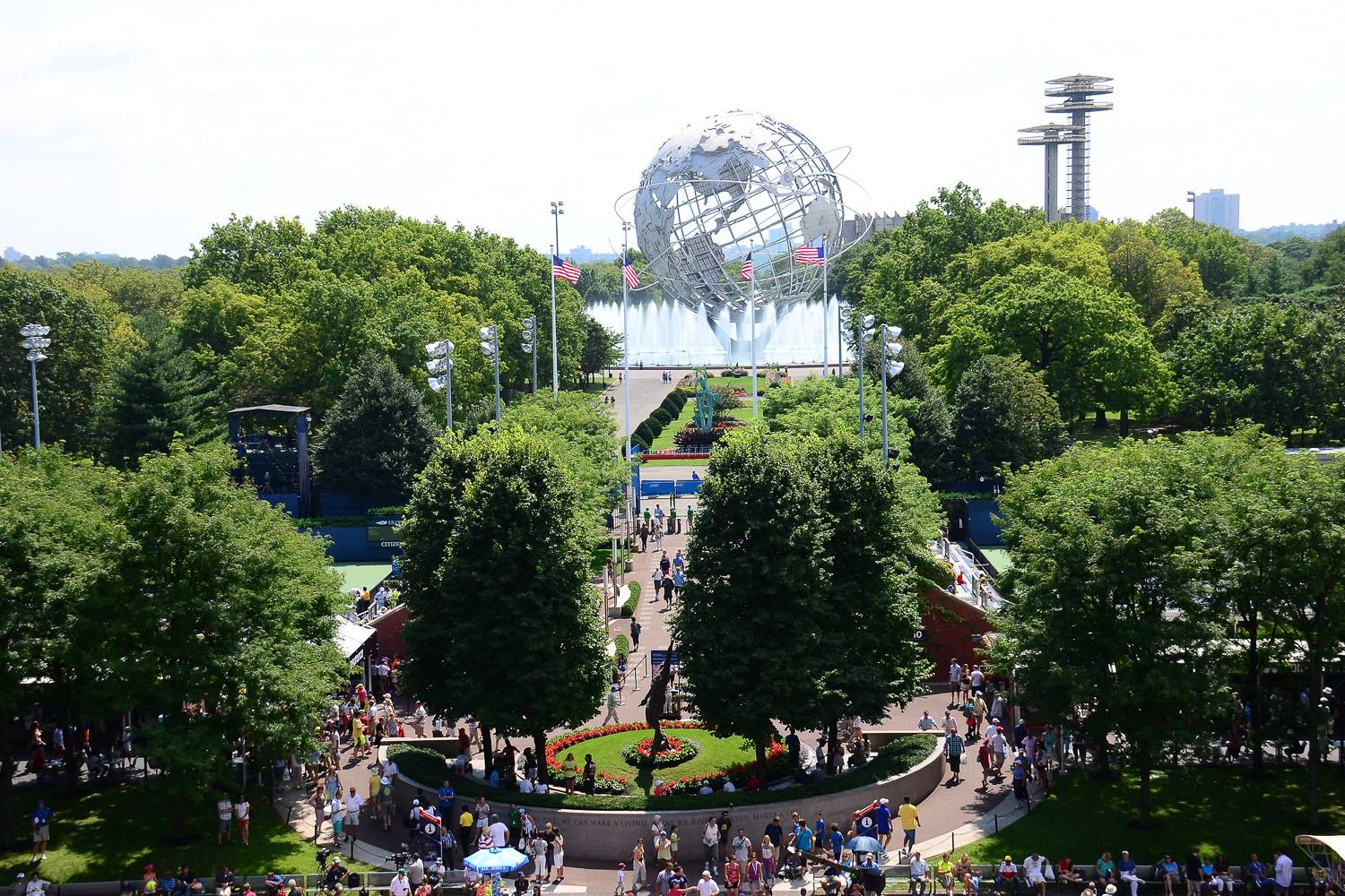 Image of the grounds of Flushing Meadows – Corona Park, the US Open, and the Unisphere in the background.