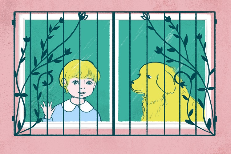 Illustration of a young child and a dog looking out of a window fitted with a window guard.