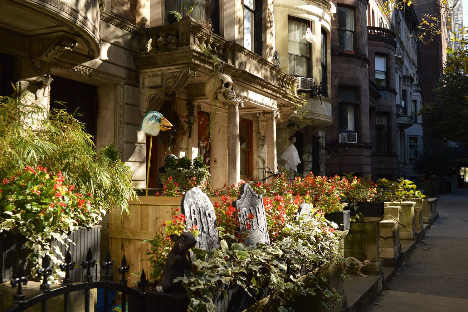 An image of a Halloween decorations in front of a Manhattan apartment.