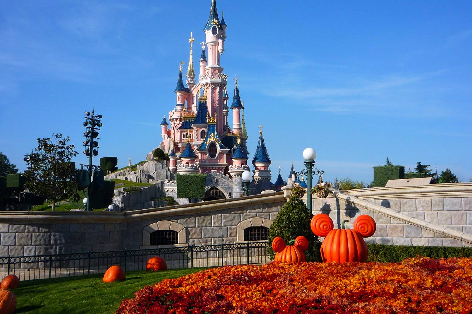 An image of Disneyland in Paris during the fall Halloween celebration.