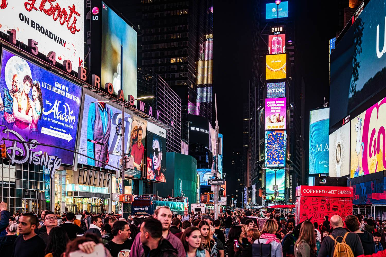 Image of crowds of people on Broadway with lit-up billboards and television screens on buildings shining brightly down.