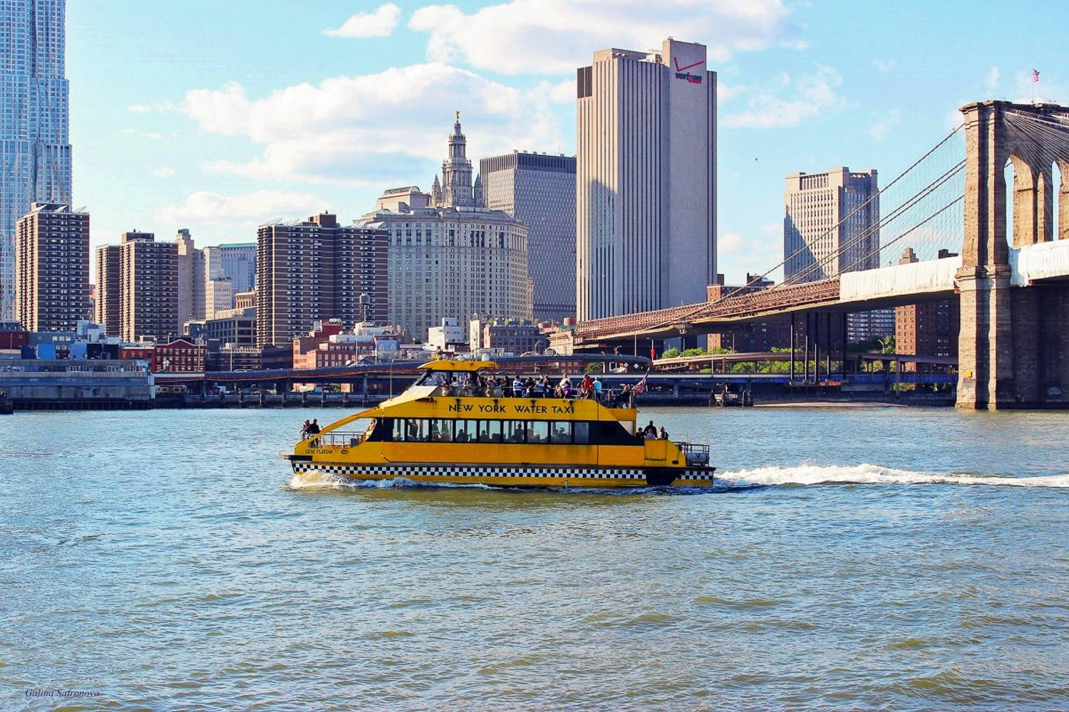 Image of a New York Water Taxi bringing tourists on a sightseeing cruise around Manhattan.