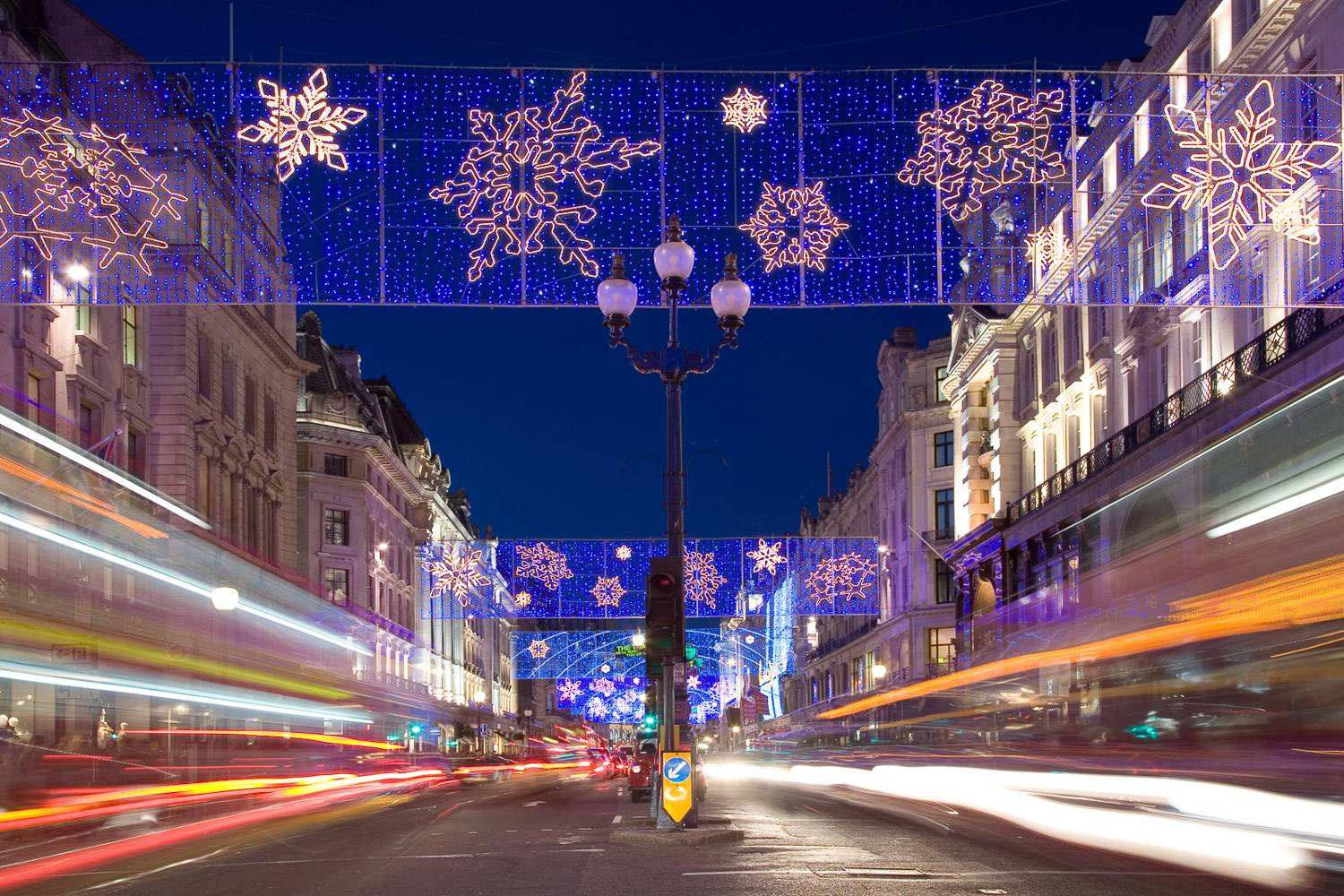 An image of bright, arresting Christmas light displays on Regent Street.