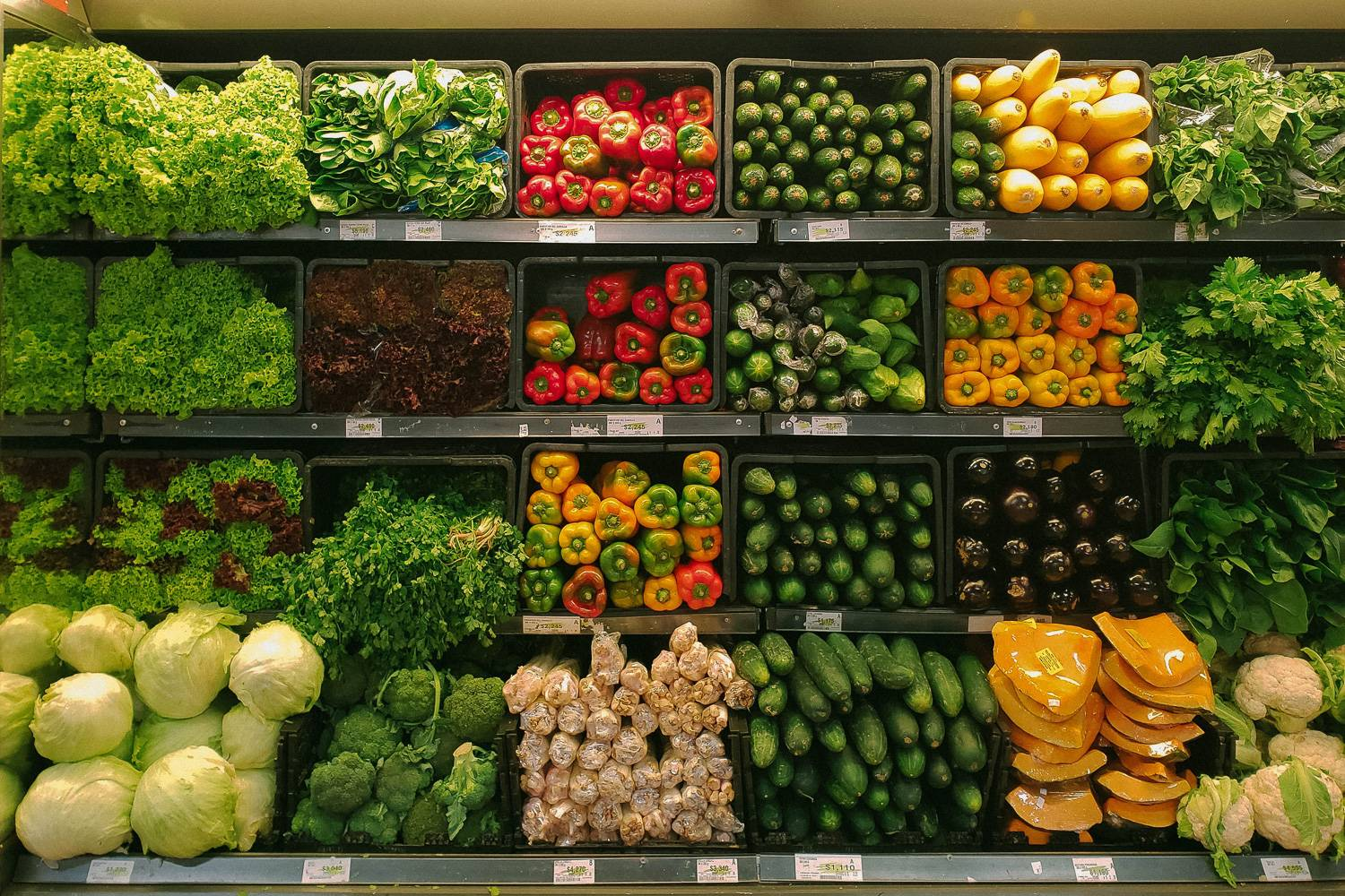 Rows of different colorful vegetables neatly stacked inside a grocery store.