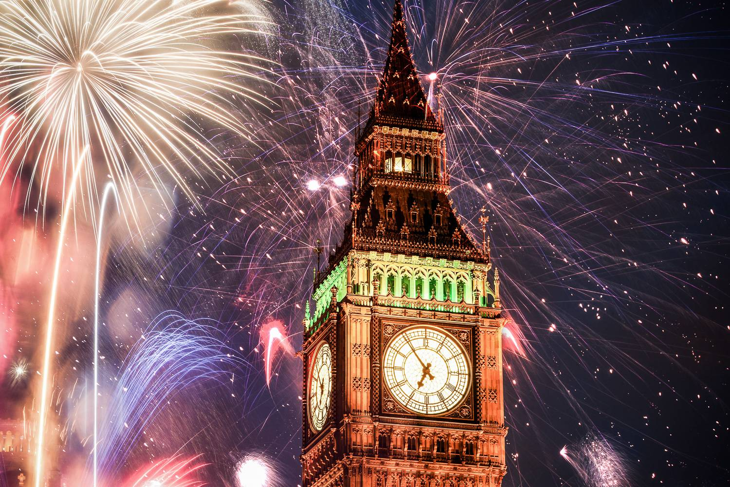 Image of Big Ben with fireworks in the background.