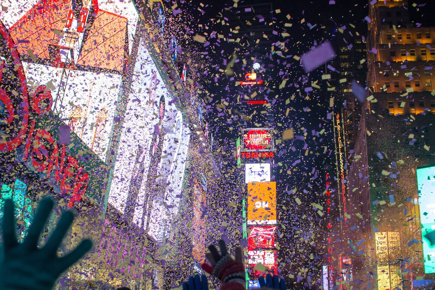 Image of confetti being thrown into the air to celebrate the New Year in Times Square
