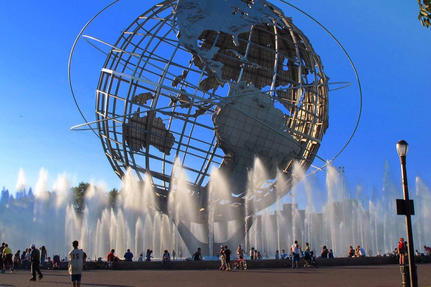 Image of fountains around the World Sphere in Flushing Meadows Park in Queens