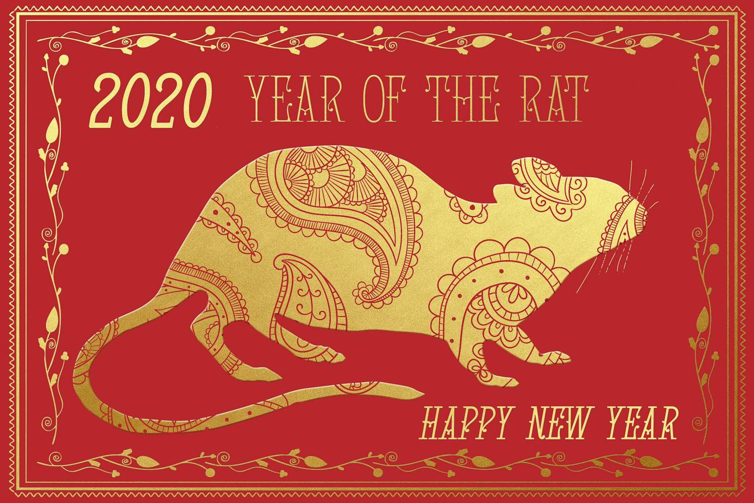 Image of a red and gold card with rat design for Chinese Year of the Rat 2020