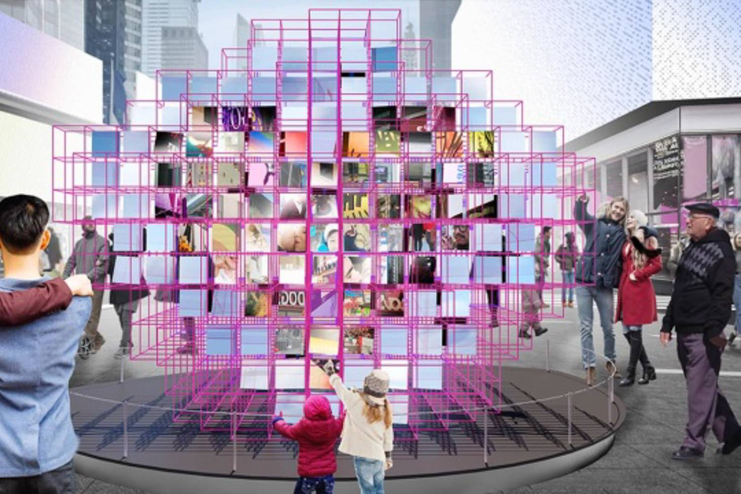 """Image of Times Square's Valentine's Day contest winning exhibit """"Heart Squared"""""""