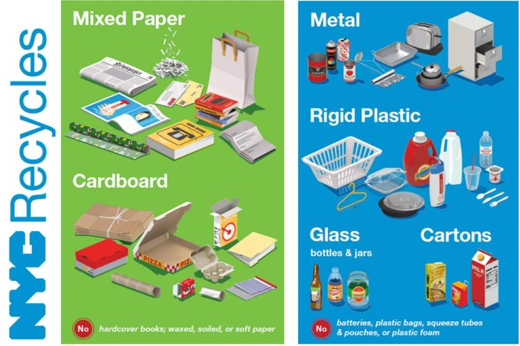 Image of a NYC Recycles poster explaining how to separate recyclables and graphics of what to recycle and a flyer about a ban on single use plastic bags